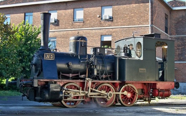 """Locomotiva a vapore T3 FVS """"N° 3"""" a Torino Smistamento"""