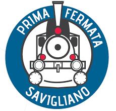 Logo percorso diffuso Prima Fermata: Savigliano. Prima sezione Centro della memoria, seconda sezione Il museo della fabbrica Alstom Savigliano, terza sezione Museo Ferroviario Piemontese